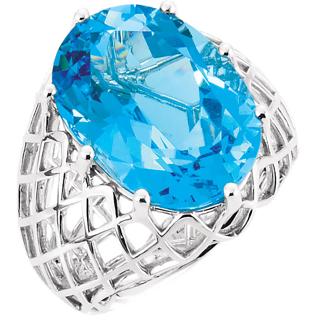 Nice 14 Karat White Gold Oval Genuine Swiss Blue Topaz Nest Design Ring