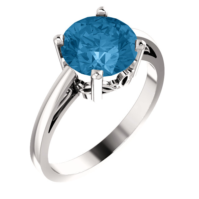 Exquisite 14 Karat White Gold Round Genuine Swiss Blue Topaz Ring