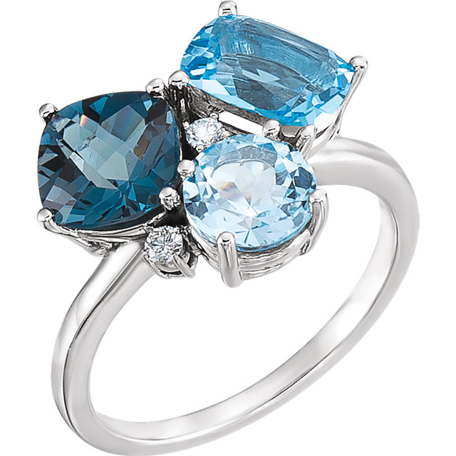 Eye Catching 14 Karat White Gold Cushion Genuine Swiss, Cushion Genuine London, & Cushion Genuine Sky Blue Topaz & .05 Carat Total Weight Diamond Ring