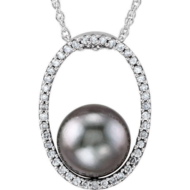 Great Buy in 14 Karat White Gold Tahitian Cultured Pearl and 0.33 Carat Total Weight Diamond 18