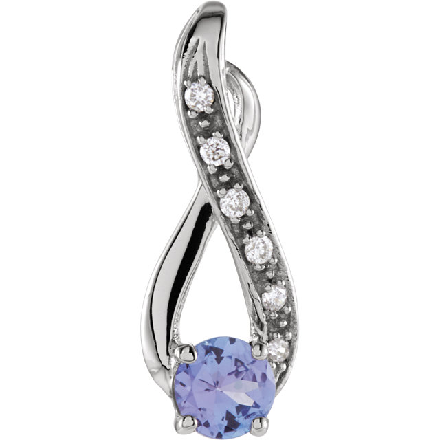 Beautiful 14 Karat White Gold Tanzanite & .04 Carat Total Weight Diamond Pendant