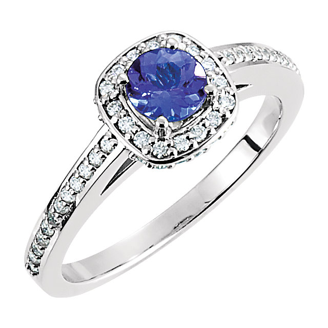 Chic 14 Karat White Gold Tanzanite & 0.33 Carat Total Weight Diamond Engagement Ring