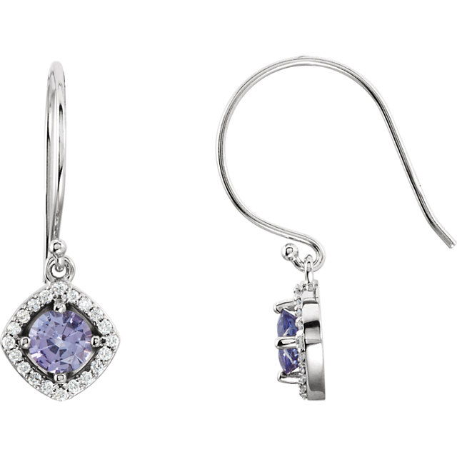 Remarkable 14 Karat White Gold Tanzanite & 1/5 Carat Total Weight Diamond Earrings