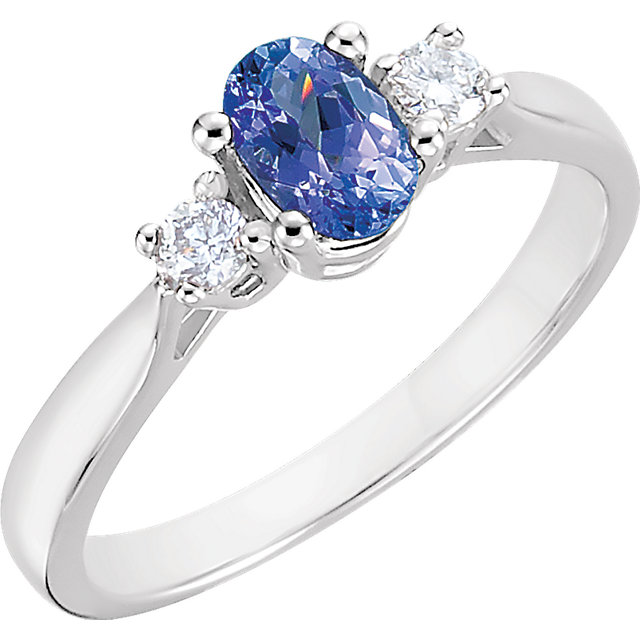 Genuine Tanzanite Ring in 14 Karat White Gold Tanzanite & 0.17 Carat Diamond Ring