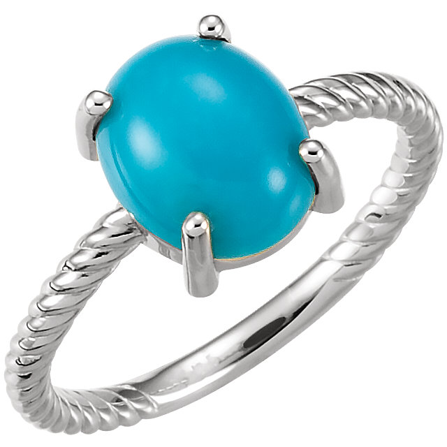 Fine 14 KT White Gold Turquoise Cabochon Ring