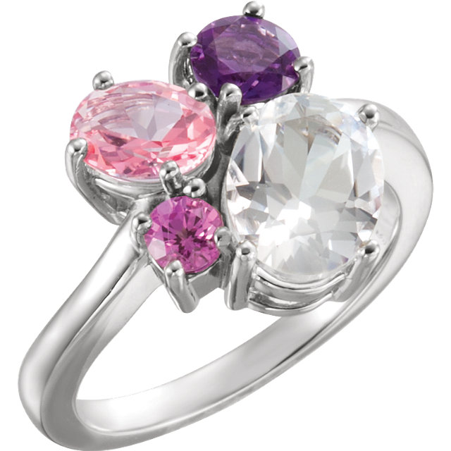 Easy Gift in 14 Karat White Gold Topaz, Amethyst, Pink Topaz & Genuine Chatham Created Created Pink Sapphire Cluster Ring