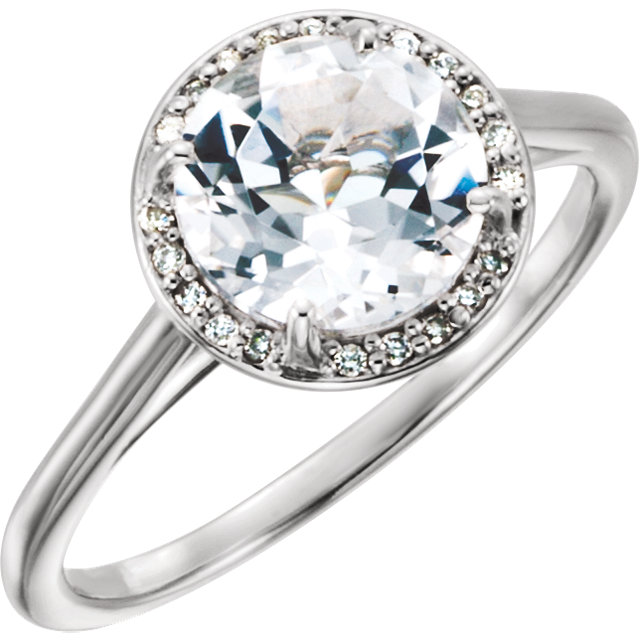 14 Karat White Gold Topaz and .05Carat Diamond Ring