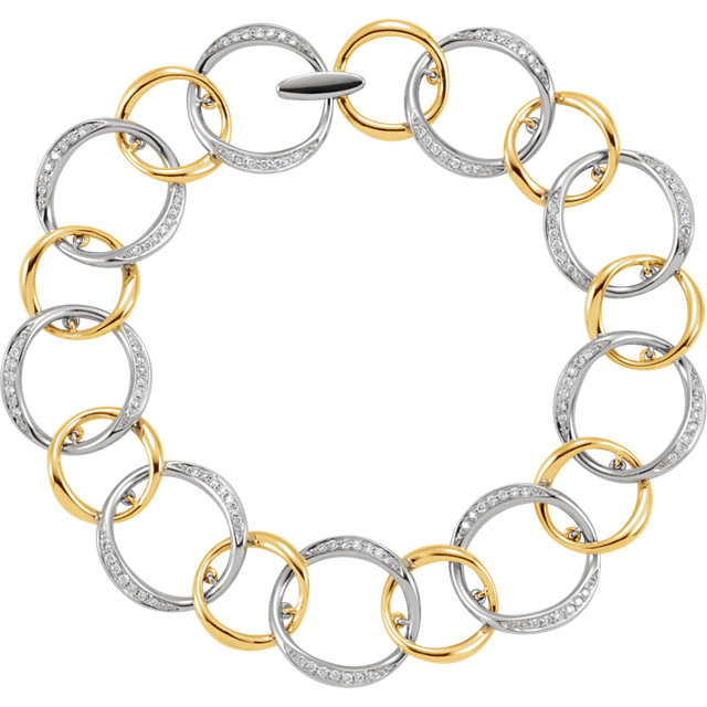 Nice 14 Karat White & Yellow Gold 3/4 Carat Total Weight Round Genuine Diamond Link Bracelet