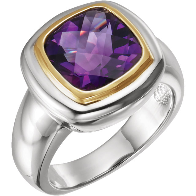 Genuine Amethyst Ring in 14 Karat White & Yellow Gold Checkerboard Amethyst Ring