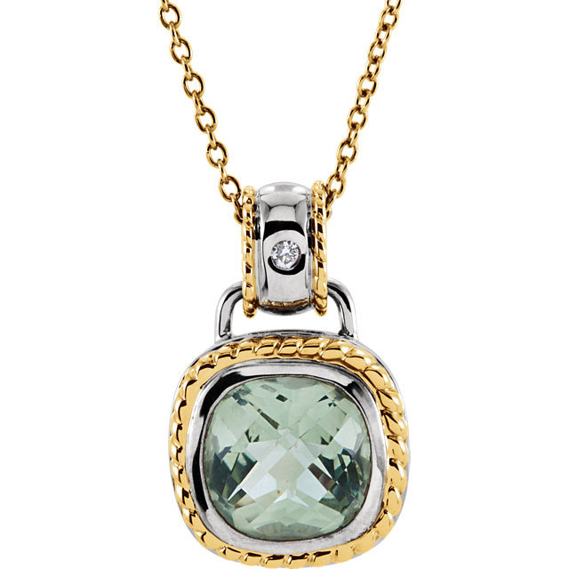 Extraordinary 14 Karat White & Yellow Gold Cushion Genuine Green Quartz & .04 Carat Total Weight Diamond 18