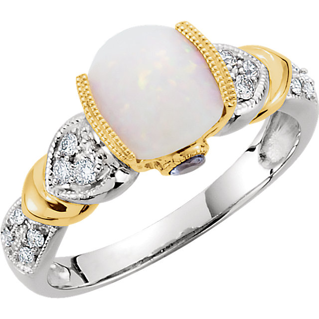 Great Deal in 14 Karat White Gold & Yellow Opal, Tanzanite & 0.17 Carat Total Weight Diamond Ring