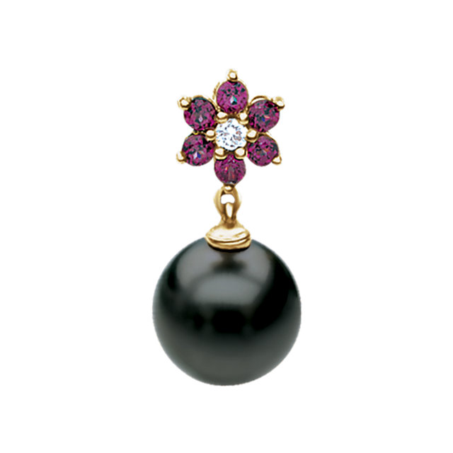 Shop Real 14 KT Yellow Gold .06 Carat TW Diamond, Rhodolite Garnet & Tahitian Pearl Pendant