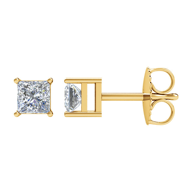 Must See 14 KT Yellow Gold 0.50 Carat TW Diamond Earrings