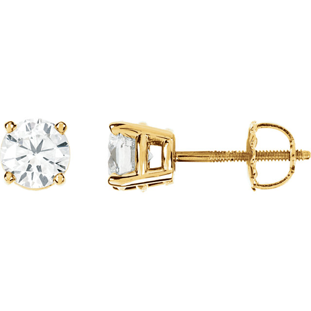 Gorgeous 14 Karat Yellow Gold 0.50 Carat Total Weight Diamond Earrings