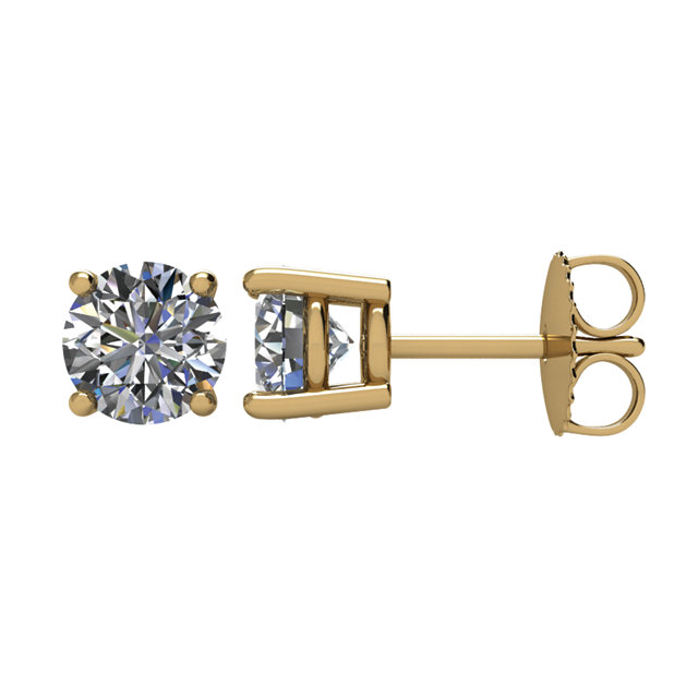 Beautiful 14 Karat Yellow Gold 0.50 Carat Total Weight Diamond Earrings