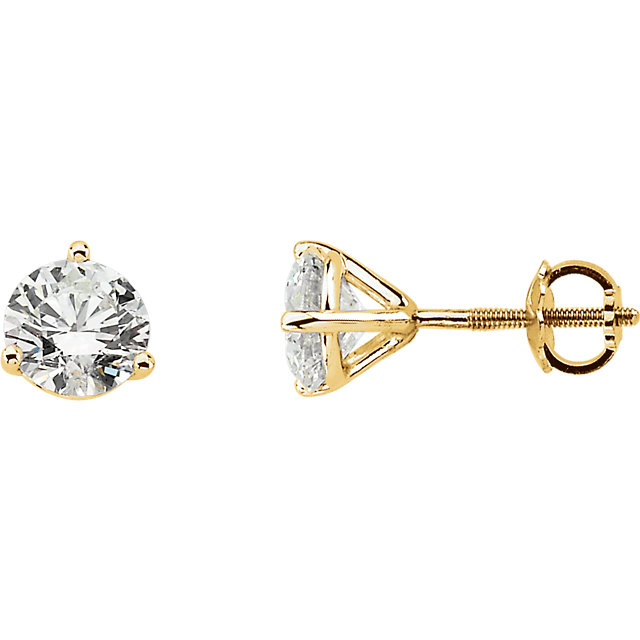 Gorgeous 14 Karat Yellow Gold 0.75 Carat Diamond Stud Earrings