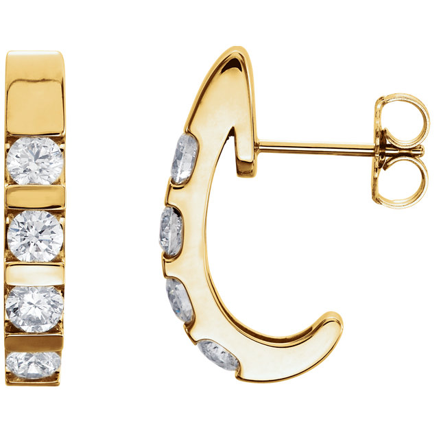 Perfect Gift Idea in 14 Karat Yellow Gold 0.25 Carat Total Weight Diamond Earrings