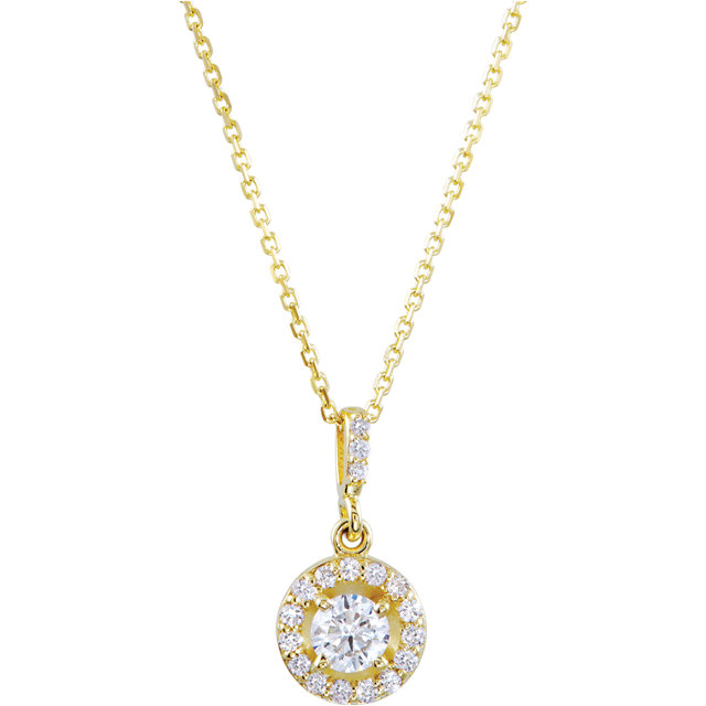 Easy Gift in 14 Karat Yellow Gold 0.25 Carat Total Weight Diamond Halo-Style 18