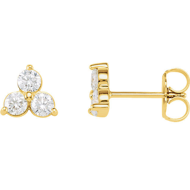 Perfect Jewelry Gift 14 Karat Yellow Gold 0.20 Carat Total Weight Three-Stone Diamond Earrings