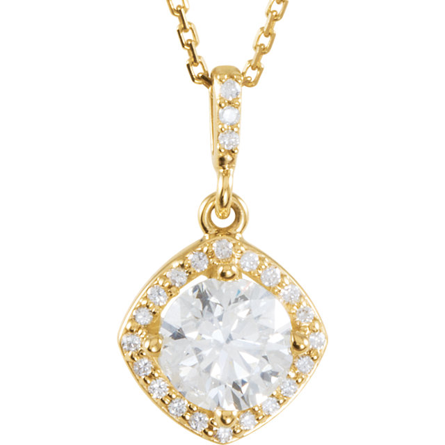 Easy Gift in 14 Karat Yellow Gold 0.17 Carat Total Weight Diamond Halo-Style 18