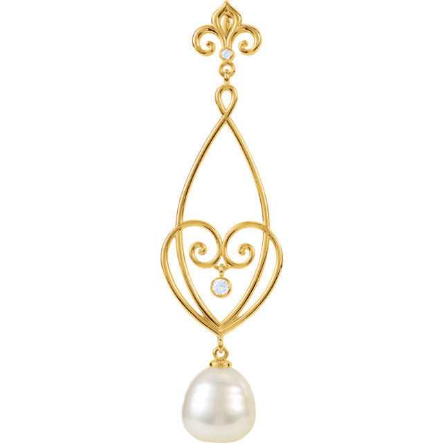 14KT Yellow Gold 1/10 Carat Total Weight Diamond & South Sea Cultured Pearl 18