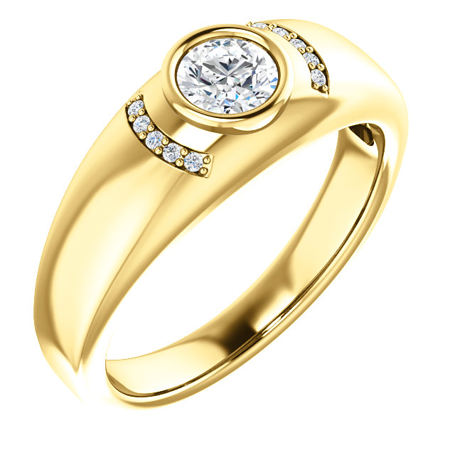 Genuine 14 KT Yellow Gold 0.50 Carat TW Diamond Men's Bezel Ring