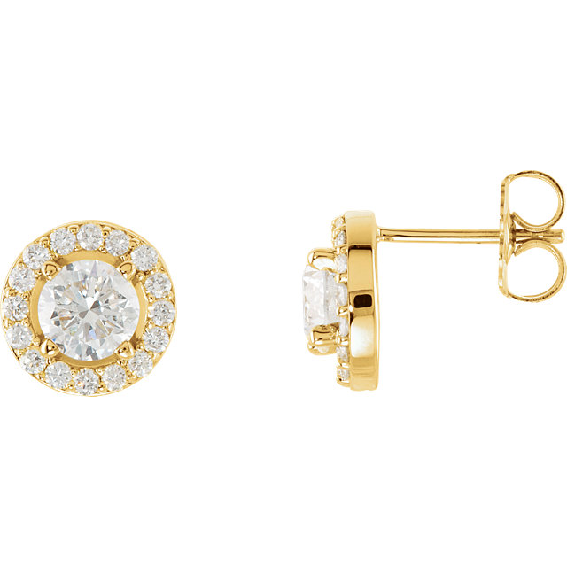 Appealing Jewelry in 14 Karat Yellow Gold 0.40 Carat Total Weight Diamond Halo-Style Earrings