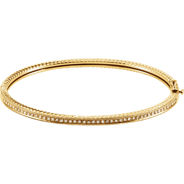 Extraordinary 14 Karat Yellow Gold 1/3 Carat Total Weight Round Genuine Diamond Bangle Bracelet