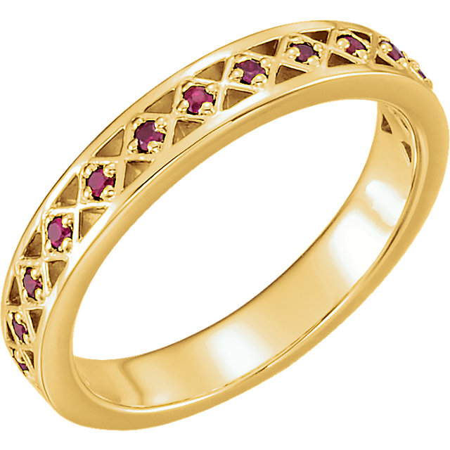 14 Karat Yellow Gold Ruby Stackable Ring