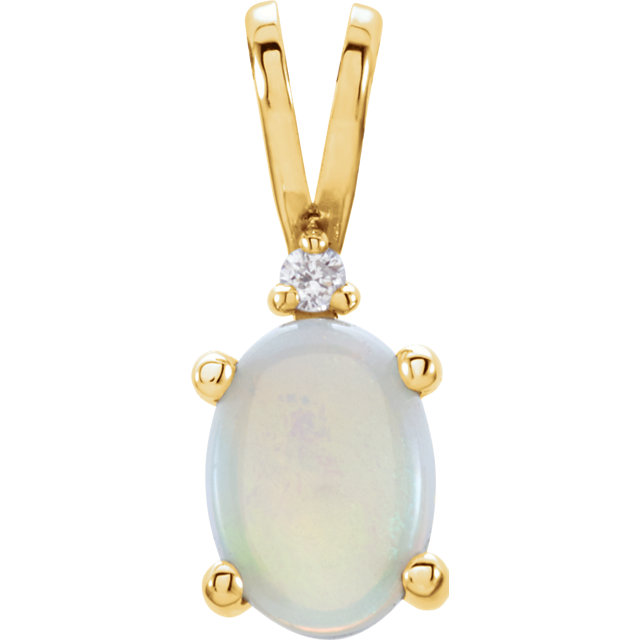 Gorgeous 14 Karat Yellow Gold 7x5mm Oval 4-Prong Accented Cabochon Pendant Mounting