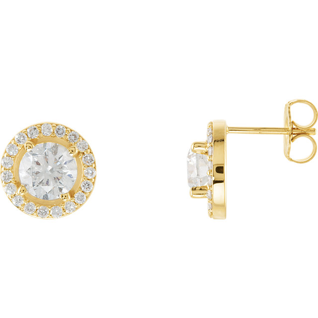 Great Buy in 14 Karat Yellow Gold 1 0.90 Carat Total Weight Diamond Halo-Style Earrings