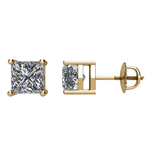 Must See 14 Karat Yellow Gold 1 Carat Total Weight Diamond Earrings