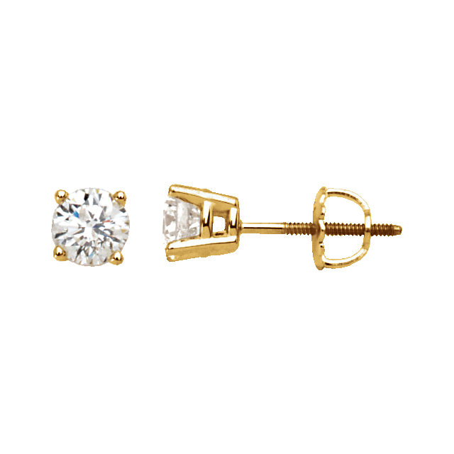 Great Gift in 14 Karat Yellow Gold 1 Carat Total Weight Diamond Earrings