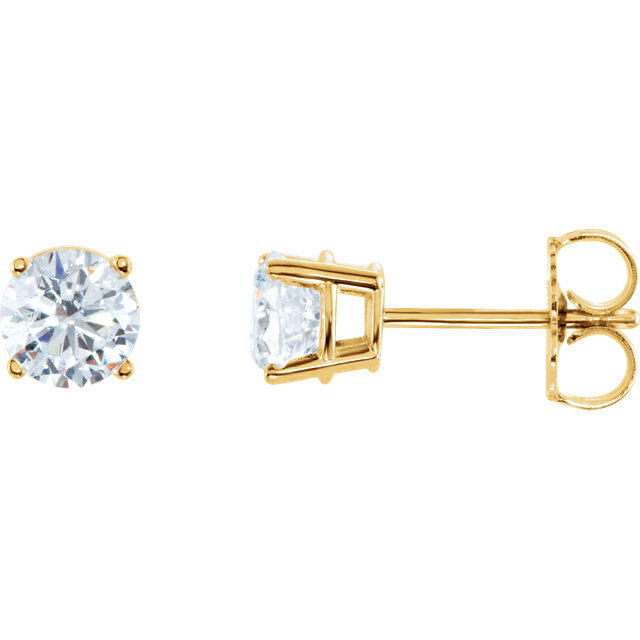 Gorgeous 14 Karat Yellow Gold 1 Carat Total Weight Diamond Earrings