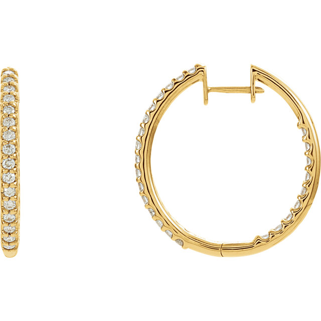 Great Deal in 14 Karat Yellow Gold 1 Carat Total Weight Diamond Hinged Inside-Outside Hoop Earrings
