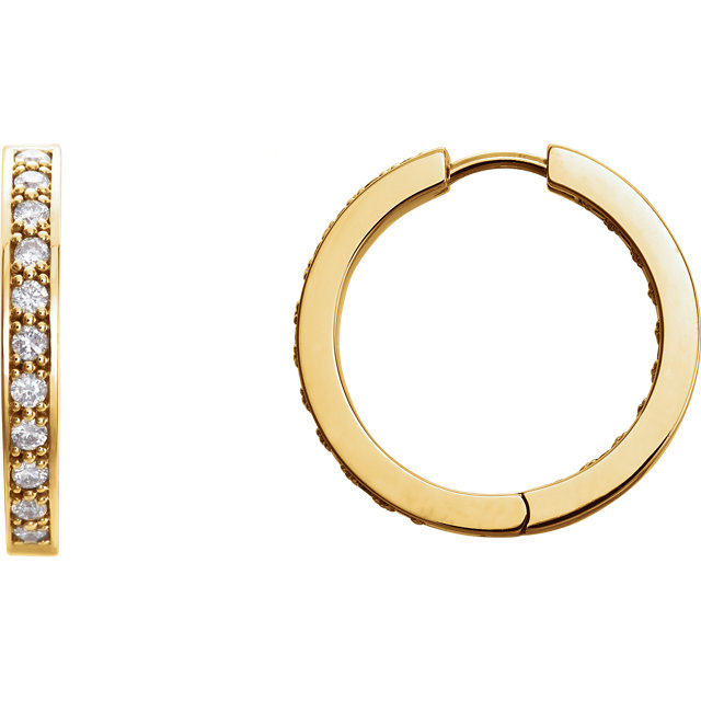 Great Buy in 14 Karat Yellow Gold 1 Carat Total Weight Diamond Hoop Inside/Outside Earrings