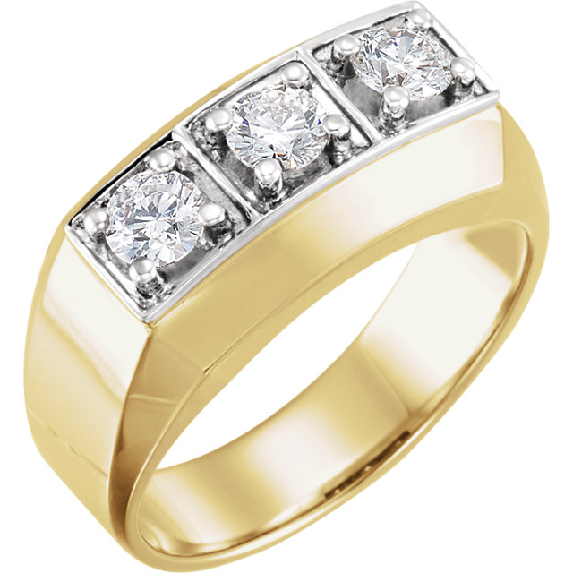 14 Karat Yellow Gold & White 1 Carat Diamond Men's Ring