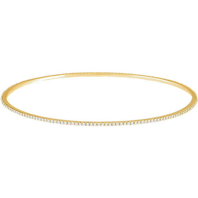 Must Have 14 Karat Yellow Gold 1 Carat Total Weight Round Genuine Diamond Stackable Bangle Bracelet