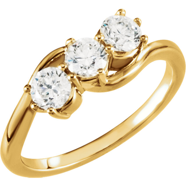 14 KT Yellow Gold 1 Carat TW Diamond Three-Stone Ring