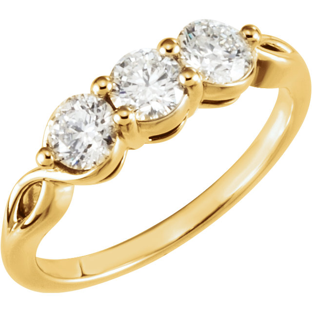 Fine 14 KT Yellow Gold 1 Carat TW Diamond Three-Stone Ring