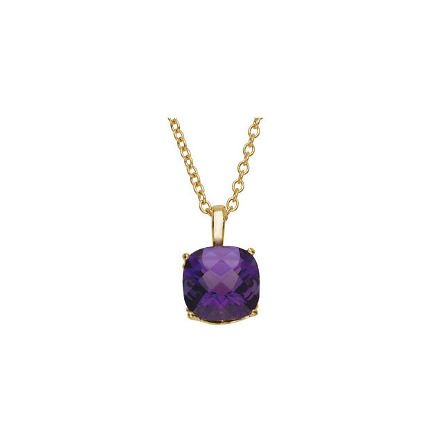 Must See 14 KT Yellow Gold 10mm Checkerboard Amethyst 18