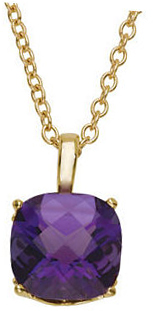 14KT Yellow Gold 10mm Checkerboard Amethyst Pendant