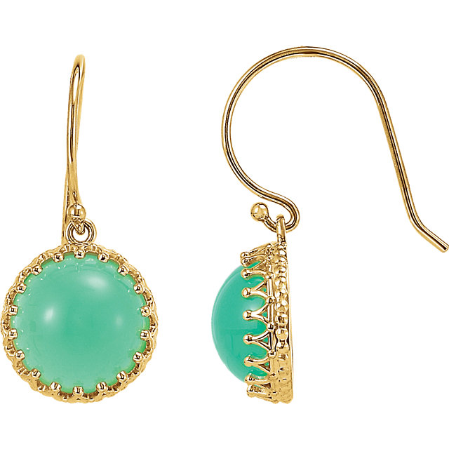 Stunning 14 Karat Yellow Gold 10mm Chrysoprase Dangle Earrings