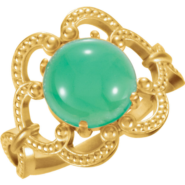 Low Price on Quality 14 KT Yellow Gold 10mm Granulated Design Chrysoprase Ring