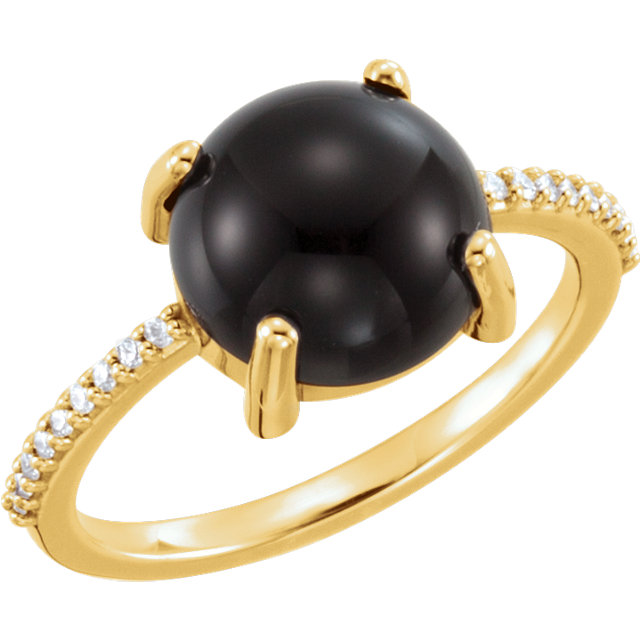 Great Deal in 14 Karat Yellow Gold 10mm Round Cabochon Onyx & .08 Carat Total Weight Diamond Ring