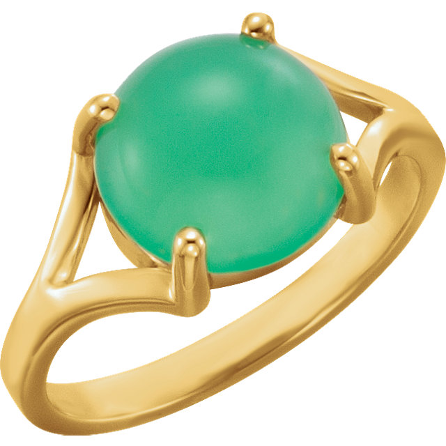 Contemporary 14 Karat Yellow Gold 10mm Round Chrysoprase Cabochon Ring