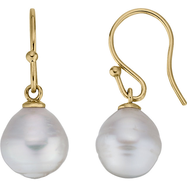 14 KT Yellow Gold 10mm South Sea Cultured Pearl Earrings