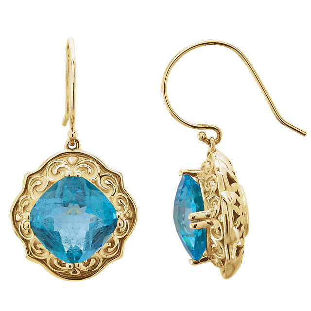 Appealing Jewelry in 14 Karat Yellow Gold Swiss Blue Topaz Earrings
