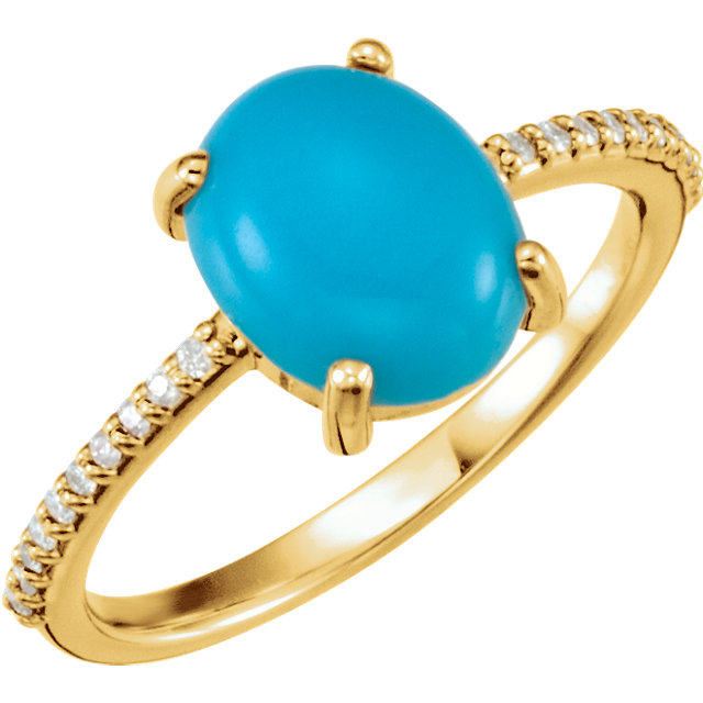 Surprise Her with  14 Karat Yellow Gold 10x8mm Oval Cabochon Turquoise & 0.10 Carat Total Weight Diamond Ring