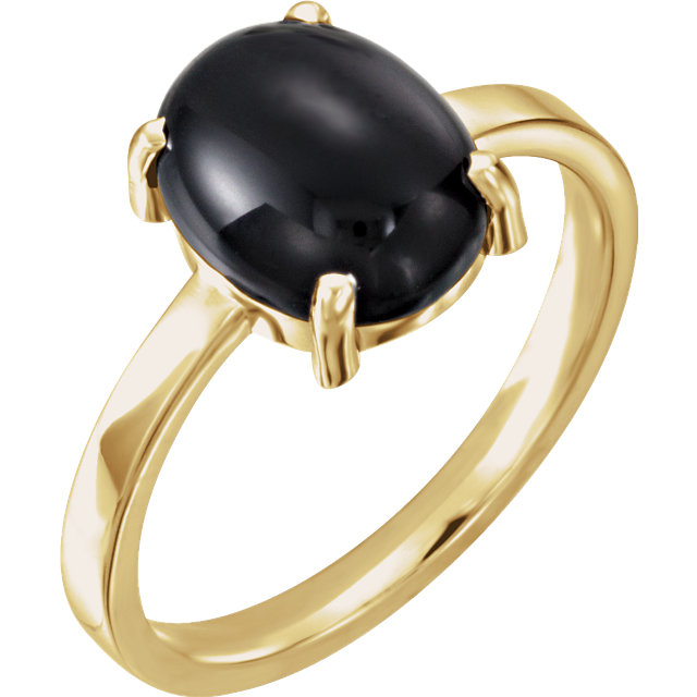 14 KT Yellow Gold 10x8mm Oval Onyx Cabochon Ring